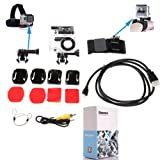 Chest Strap+Flat Base+Curved Base with Stickers+Waterproof Housing Case Accessory+Video Cable for Hero 2+HDMI Cable for Hero 2+Wrist Strap for Gopro (Applicable daily kits 7 in 1)