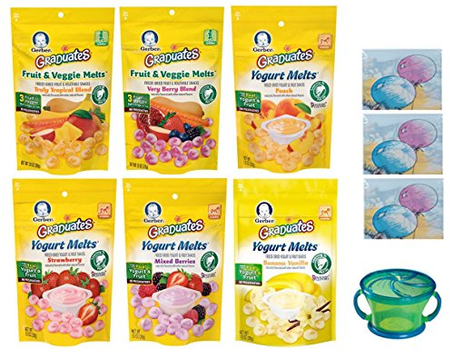 Gerber Graduates YOGURT MELTS Variety Pack + Snack Catcher; Disposable Bibs; and Sanitizing Hand Wipes. 4 Yogurt Melts and 2 Fruit and Veggie Melts. Baby Care Package, Gift. (Bundle of 6 Melts) (Organic Yogurt Bite Gerber compare prices)