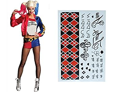 HQ Temporary Tattoos Sheet - Face, Waist, & Leg Tattoos - Halloween Costume / Cosplay For Harley Quinn Temporary Tattoos