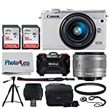 Canon EOS M100 Mirrorless Digital Camera (White) + EF-M 15-45mm f/3.5-6.3 IS STM Lens (Graphite) + 32GB Memory Card + 49mm UV Filter + Quality Tripod + Memory Card Holder (24 Slots) + Cleaning Cloth