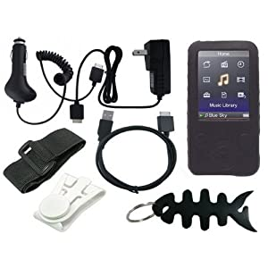 Premium Sony Walkman Accessories Combo Bundle Pack: Black Durable Flexible Soft Silicone Skin Case, Car Charger, Wall / Travel / AC Adapter Charger, 2in1 Sync USB Cable, Adjustable Armband, Belt Clip, Fishbone Style Keychain and a Screen Protector / Guard with a Lint Cleaning Cloth for the Sony Walkman NWZ E436 E438 Series MP3 Players
