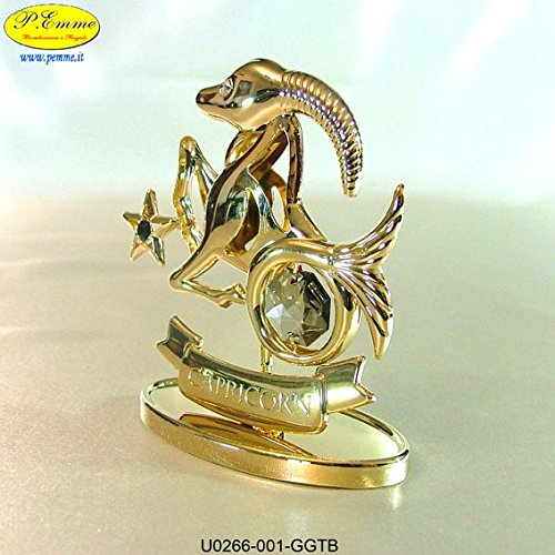 SEGNO ZODIACALE CAPRICORNO GOLD CRYSTOCRAFT SWAROVSKI ELEMENTS - 24K GOLD PLATED