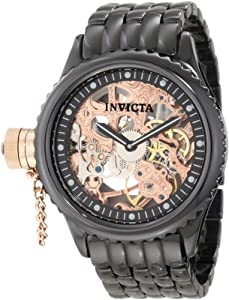 Invicta Men's 1926 Russian Diver Mechanical Rose Gold Tone Skeleton Dial Black Ceramic Watch