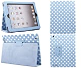 ITALKonline PADWEAR BLUE WHITE POLKA DOTS Multi Function Multi Angle Luxury Executive Wallet Stand Cover Typing Case with Magnetic Sleep Wake Sensor Feature For Apple iPad 3 3rd Generation (Wi-Fi and Wi-Fi + 3G) 16GB 32GB 64GB (2012)