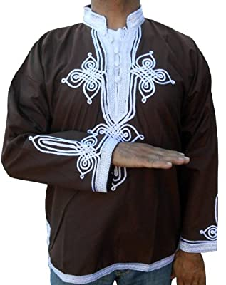 Marrakesh Men Tunic Caftan Large to Xlarge brown With White Tread Embroidery