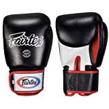 Fairtex Muay Thai-Style Sparring Glove, Black/White, 16-Ounce