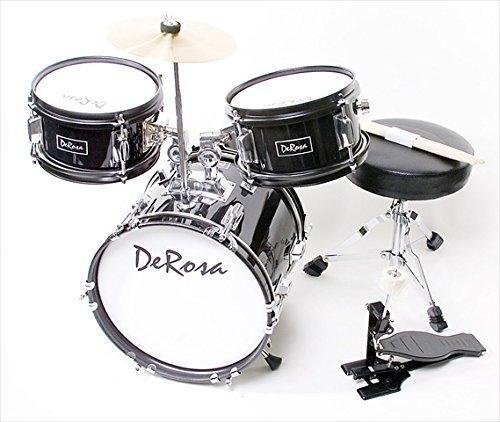 de-rosa-drm312-bk-12-in-kids-children-drum-set-in-black-3-piece-set-by-de-rosa