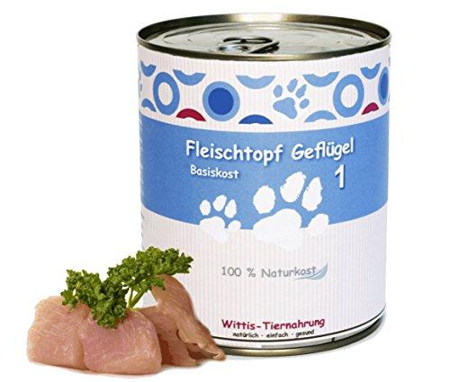 Bild: 6 x 800 g  Wittis Fleischdosen für Hunde  garantiert OHNE künstliche Vitamine Fleisch pur  Geflügel  pur  Barf in Dosen  Dosenfutter ohne Zusätze