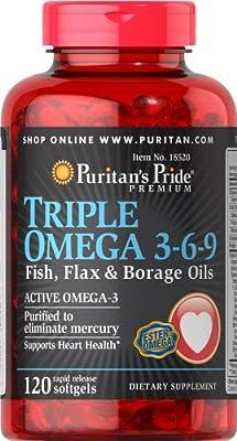 Puritan's Pride Triple Omega 3-6-9 Fish, Flax & Borage Oils-120 Softgels
