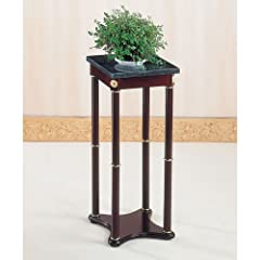 Coaster Green Snack Table / Plant Stand Marble Top with A Cherry Finish Base Square