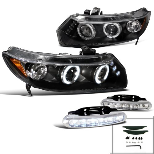 Civic 2Dr Coupe Halo Projector Headlights Black+Led Drl Fog Lamps