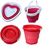 Lesirit 5L Silicone Foldable Silicone Collapsible Bucket (Red)