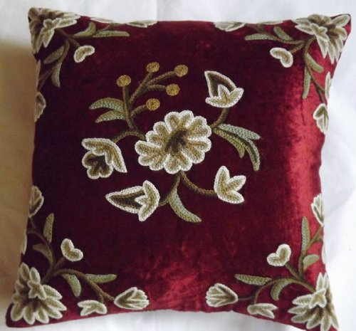Crewel Pillow Sham Globe Marries Cotton Viscose Velvet (16X16)
