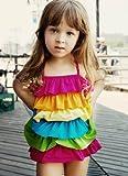 女児水着 子供 水着 虹 かわいい 可愛い女の子 みずぎX1288 Lサイズ(4-5歳)