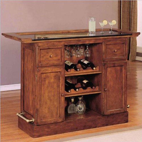 Powell Furniture Brandon Wooden Warm Cherry Home Bar