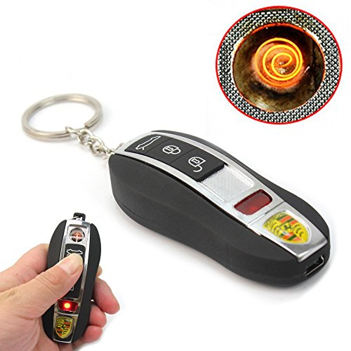 Black USB Electronic Flameless Cigar Lighter Rechargeable Battery Key Ring