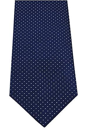 COLLAR AND CUFFS LONDON - Hochwertige Seidenkrawatte Punkte - Handgefertigte - Marineblau und Weiß - 100% Seide Krawatte - Für Herren