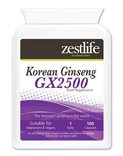 Zestlife coreani (Panax) Ginseng GX2500 / 100 Capsule   Un tonico rigenerante che promuove la vitalità ~ resistenza e concentrazione migliore . * In Offerta Speciale *