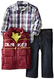 Calvin Klein Baby-Boys Infant Vest with Plaided Shirt and Jeans