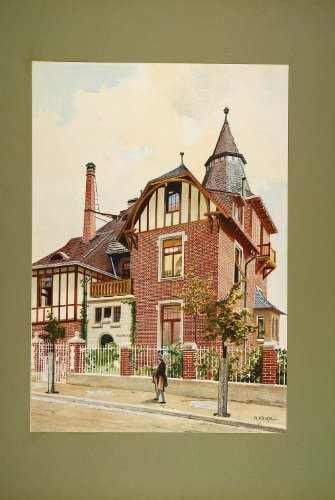 1903 Chromolithograph Villa Floor Plan Elevation Volkel - Original Chromolithograph