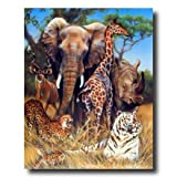 Elephant Giraffe Rhino African Wildlife Wall Picture 16x20 Art Print