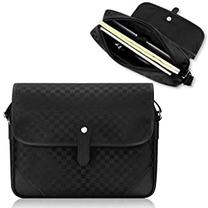 Duzign Checkered Messenger Bag (Black) for 11 Inch MacBook Air + Pocket for Apple iPad Air / iPad 3 / iPad 2 from Duzign