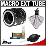 Vivitar Macro Extension Tube Set with Nikon Cleaning Kit for Nikon D3s, D4, D300s, D800, D3000, D3100, D5000, D5100 & D7000 Digital SLR Cameras