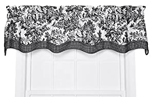Victoria Park Toile Bradford Valence Window Curtain, 70 Inch - 15 Inch, Black