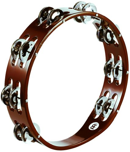 Meinl Percussion TA2AB Traditional 10-Inch Wood Tambourine with Double Row Steel Jingles
