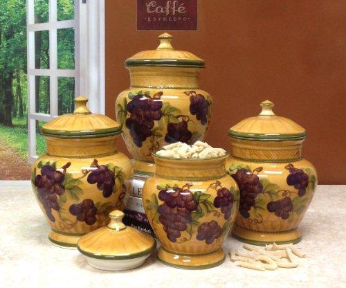 4pc Ceramic Canister Set Tuscany Grape New Ebay