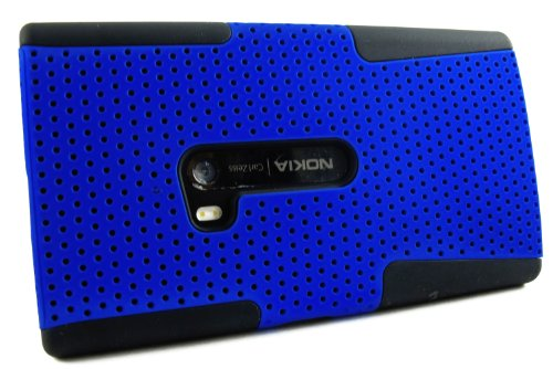 Mylife (Tm) Deep Blue And Matte Black Perforated Mesh Series (2 Layer Neo Hybrid) Slim Armor Case For The Nokia Lumia 920, 920.2, 920T And 920 4G Camera Smartphone By Microsoft (External Rubberized Hard Shell Mesh Piece + Internal Soft Silicone Flexible G