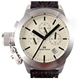 Ladies Chronograph Stainless Steel Brown Leather Adjustable Strap Watch Iv15q712