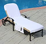 "Lounge Chair Cover Luxury Turkish Cotton Side Pocket Option Eco-friendly (32""x102"" With Side Accessory Pocket)"