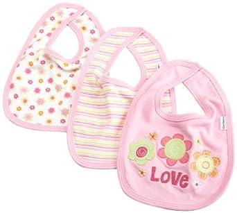 Gerber Baby-Girls Newborn 3 Pack Interlock Dribbler Bib, Pink, One Size