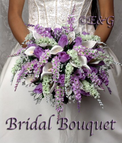 Wedding bouquet complete package bouquets silk bridal flowers weddings love ANNA BELLE LAVENDER