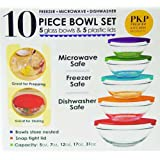 10 Piece Glass Bowl Set with Lids (Microwave, freezer and dishwasher safe)