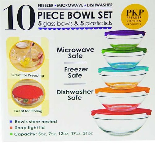 10 Piece Glass Bowl Set with Lids (Microwave, freezer and dishwasher safe) (Glass Bowl Set Lids compare prices)