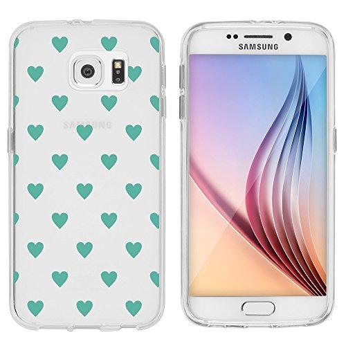 Samsung Custodia di licaso® per il Samsung Galaxy S6 di TPU Silicone Cuore Verde Green Heart Modello molto sottile protegge il tuo Samsung Galaxy S6 & con stile Cover Bumper (Samsung Galaxy S6, Cuore Verde)