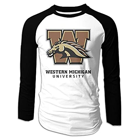 NORAL Men's Western Michigan University Long Sleeve Tee Baseball Shirt Raglan Shirt Black Size XXL