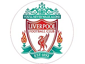7.5 inch Liverpool The Reds FC Club Football Team Emblem Badge Logo Premier League Victoria Sponge Large Round Circle Cake Topper Decoration Edible Rice Wafer Paper