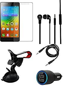 NIROSHA Tempered Glass Screen Guard Car Charger Headphone / Hands Free Car Holder for Lenovo A7000 - Combo