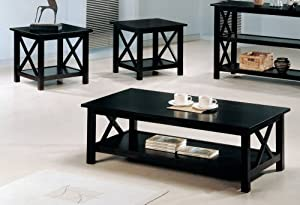 Coaster 3-Piece X-Design Occasional 3-Piece Table Set, Cappuccino