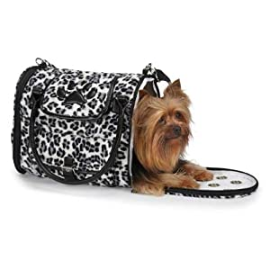 Zack & Zoey Polyester with Polyurethane Snow Leopard Pet Carrier, Small, Black