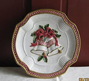 Fitz and floyd holiday bells canape plate for Christmas canape plates