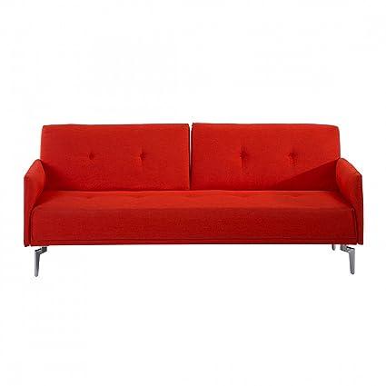 Canapé convertible - canapé-lit en tissu carotte - Lucan
