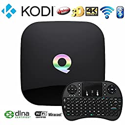 WISEWO Q-Box Android 5.1 Amlogic S905 Smart TV Box Quad Core Speed Bluetooth 4.0 Dual Band Wifi KODI/XBMC Fully Loaded Add-ons 2GB/16GB/4K Streaming Media Player with Wireless Keyboard Mouse
