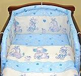Blue hearts 6 pieces bedding set Cot (60cm x 120cm)