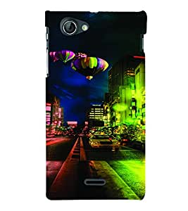 PrintVisa Travel City Hot & Sexy Balloon 3D Hard Polycarbonate Designer Back Case Cover for Sony Xperia J ST26i
