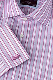 Luxury Sartorial Pure Cotton Prince of Wales Striped Shirt [T11-4306S-S]