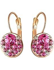 Aaishwarya 18K Rose Gold Plated Striking Pink Austrian Crystal Earring For Women & Girls